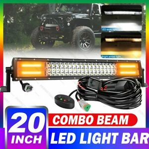 20inch 288w Car White Amber Strobe Led Light Bar Offroad For Jeep Ford Suv 4wd