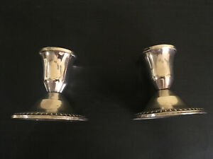 Vintage Duchin Silver Sterling Weighted Pair Of Candlesticks Candle Holders