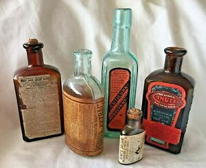 Collection Of 5 Antique Medicine Bottles Kemp S Pond S Canute Etc With Labels
