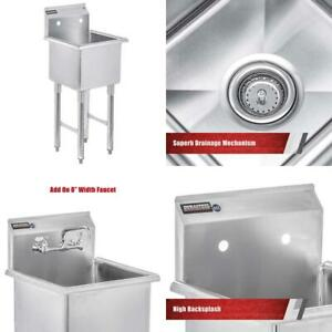Durasteel Stainless Steel Prep Utility Sink 1 Compartment Commercial Kitchen