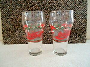 Vtg. Set Of 2 Coca Cola Xmas Wreath & Bell Themed Drinking Glasses