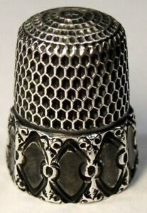 Antique Simons Bros Child S Sterling Silver Thimble Concave Oval Panels C1890s