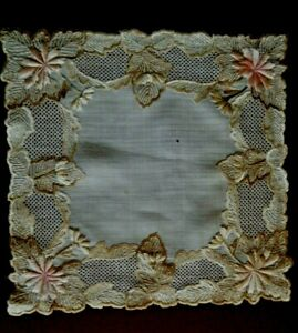 Rare Antique Bridal Hanky Doily Dresden Embroidery Drawn Lace Floral H Done