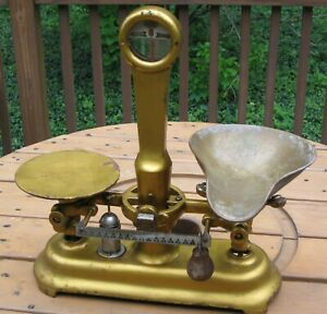 Vintage Antique Jacob Bros Ny Cast Iron Scale Nyc Brass Gold Detectogram Relic