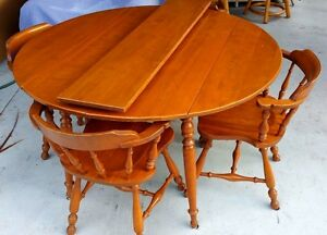 Vtg 1958 Ethan Allen Baumritter Folding Dining Table 4 Windsor Chairs Vermont