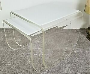 Vintage Mcm Mid Century Modern White Top Lucite Acrylic Waterfall Nesting Tables