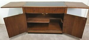 Vtg Mcm Henredon Rolling Dry Bar Buffet Serving Cart Walnut Mid Century Modern