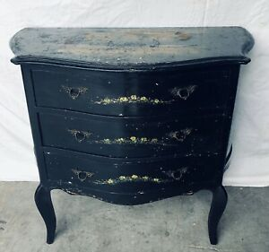 Antique French Empire Early 19th Cent Sabre Leg 3 Drawer Painted Bombe Chest