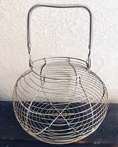 Vintage French Wire Egg Basket Classic Primitive Country Farmhouse Euc