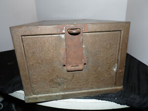 Vintage Industrial Metal Card File Cabinet Storage Safe Locking Security