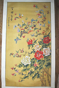 Vintage Large Chinese Scroll Butterfly Flowers Signed