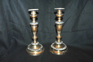 Antique Pair Of Silver Plated Candle Holders With Fancy Design No Monograms