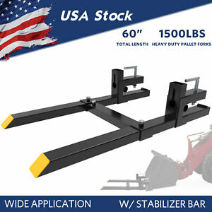 1500lbs Tractor Steel Pallet Forks For Skid Steer Bucket 60 W Stabilizer Bar