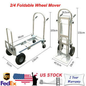 Versatile Foldable 3 in 1 Aluminum Alloy Hand Truck Heavy Duty 2 4 Wheel Mover