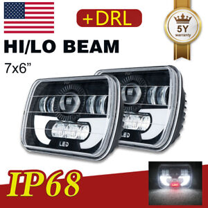 7x6 5x7 Led Headlight Projector Crystal Hi lo Sealed Beam Drl Fit Chevy Jeep
