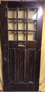 Antique Craftsman Wood Exterior French Entry Door W 9 Pane Glass 34x82