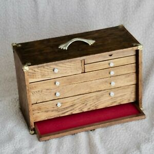 Vintage Wooden Tool Chest Box Antique With 6 Drawers Refinished