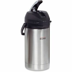 Coffee Dispenser Hot Beverage Flask Stainless Steel Brew through Lever Portable