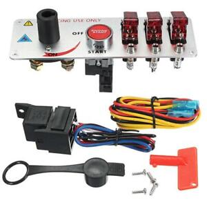 12v Led Toggle Ignition Switch Panel Racing Car Engine Start Push Set Kit
