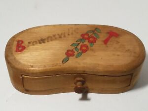Vintage Handcrafted Wood Box Drawer Brownsville Texas Burned Painted Flowers