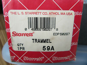 Starrett 59a One Pair Trammel Edp 50297 Very Good Condition