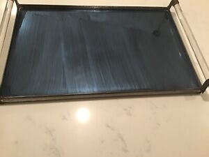 Vintage Rare Art Deco Blue Glass Mirror And Lucite Handles Decorative Tray