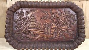 Antique Japanese Hand Carved Pictorial Wooden Tray