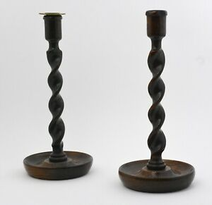 A Pair Of Antique English Turned Wooden Candlesticks