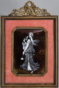 Framed Antique French En Grisaille Enamel Plaque Of Classical Maiden W Flowers