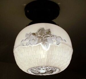 668b Vintage Antique Globe Ceiling Light Brass Fixture Hall Entry Porch
