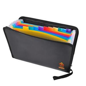 Fireproof Expanding File Folder Document Bag Organizer Pouch Holder Office Case