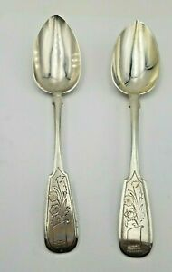Pair Of Russian 84 Silver Spoons W Floral Design Both Sides 8 1 4 7023