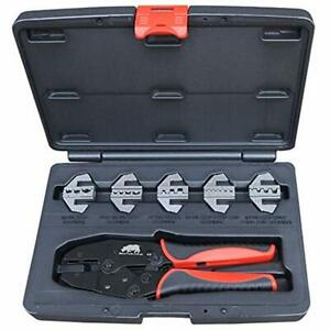 5 Die Electricians Cable Crimping Kit Rhino Tools Quick Change Crimper