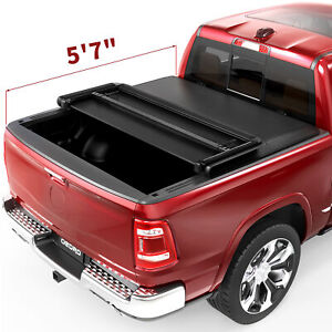 Oedro Soft Tri fold Tonneau Cover For 2009 2020 Ram 1500 5 8ft Truck Bed Black