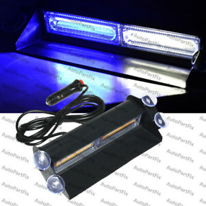 2 Cob White Blue Light Emergency Car Vehicle Warn Strobe Flash Brighter Than Led