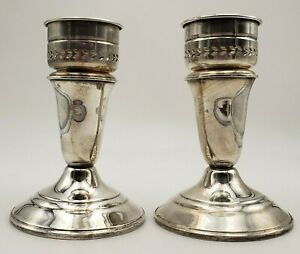 Pair Of Vintage Sterling Silver Candlestick Holders By Crown Sterling 6983