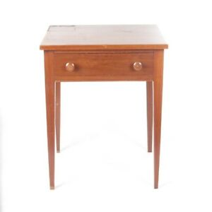 Vtg End Table Side Stand Cherry Solid Wood One Drawer
