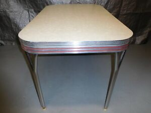 Mid Century Chrome White Cracked Ice Formica Kitchen Table 48 X 30 X 30