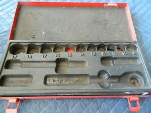 Vintage Snap On Socket Set Steel Case And Tray For Metric 3 8 Drive 8 19
