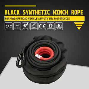 Black Synthetic Winch Rope Cable For 4wd Off Road Vehicle Atv Utv Suv Motorcycle