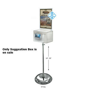 Suggestion Box In White Large 9w X 6 25d X 6 25h Inches With Adjusting Pedestal