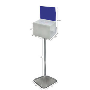 Suggestion Box In White Large 11w X 8 25d X 8 25h Inches With Sign pedestal