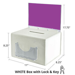 Suggestion Box In White Extra Large 11w X 8 25d X 8 25h Inches With Lock