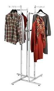 4 Way Clothing Rack Square Tube In Chrome Finish With 4 Straight Arms