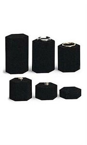 Set Of 6 New Black Velvet Hexagonal Jewelry Display Risers 4 w Diagonal