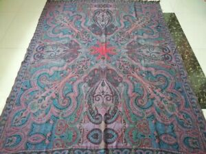 Antique French Paisley Kashmir Square Piano Shawl Wool Size 74 X 57 Beautiful