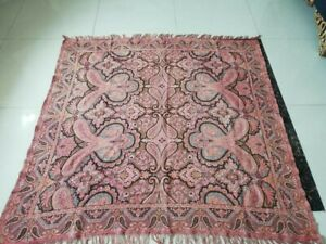 Antique French Paisley Kashmir Square Piano Shawl Wool Size 56 X56 Table Cloth