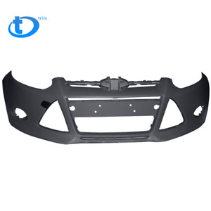 New Primered Front Bumper Cover For 2012 2013 2014 Ford Focus Sedan W Tow Hole