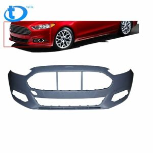 New Front Bumper Cover For 2013 2016 Ford Fusion Primed W O Sensor Holes
