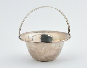 A Vintage Sterling Silver Hand Hammered Style Decorated Small Basket With Handle